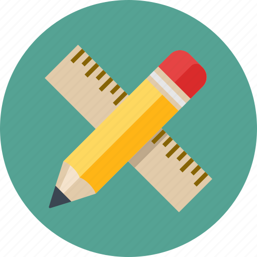 math, pencil, ruler icon