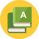 alphabet, education, knowledge, learning, library, reading, school books, study icon