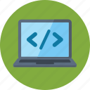 code, coding, laptop, programming icon