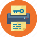 file, keyword generator, paper, printer icon