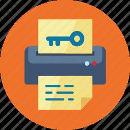 file, keyword generator, paper, printer icon
