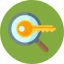 key, keyword research, magnifier, magnifying glass icon