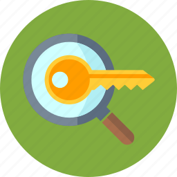 key, keyword, keyword research, magnifier, magnifying glass, research icon