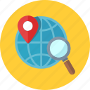 global, gps, location, map pin, search engine icon