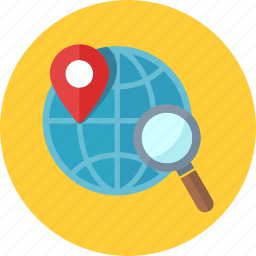 global, local seo, location, magnifier, magnifying glass, map pin, navigation, optimization, search engine icon