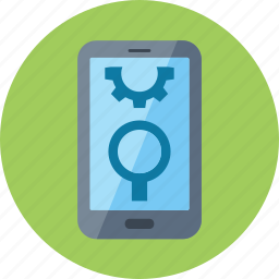 gear, magnifying glass, mobile seo, smartphone icon