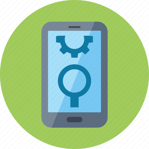 gear, mobile seo, smartphone icon