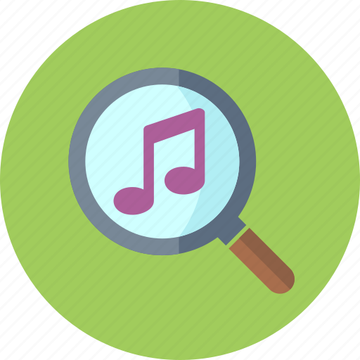find, magnifier, magnifying glass, music icon