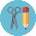 content management, edit, pencil, scissors, web content icon