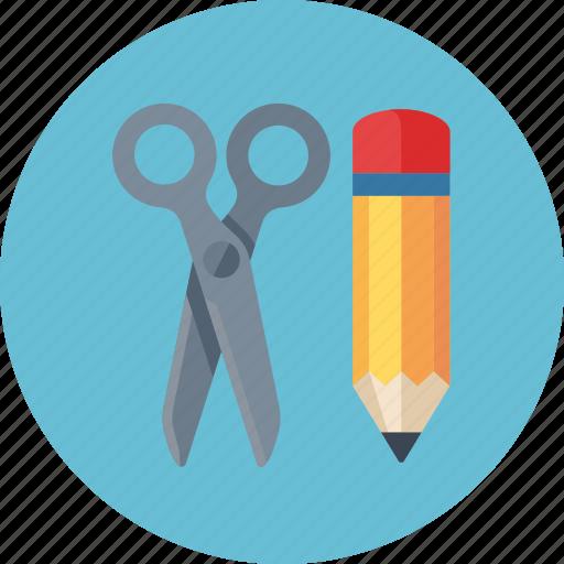 content management, edit, pencil, scissors, web content icon