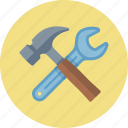 hammer, options, settings, tools, wrench icon
