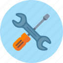 preferences, screwdriver, seo maintenance, settings, wrench icon