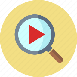 magnifier, magnifying glass, play, video search icon