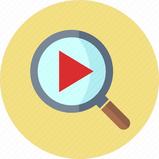 magnifier, play, video search icon