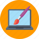 graphic design, laptop, paintbrush, web design icon