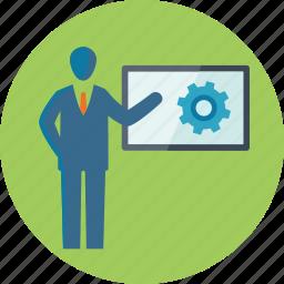 business, businessman, gear, presentation, search engine optimization, seo, seo training, training icon