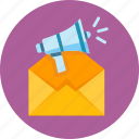 advertising, email marketing, megaphone icon