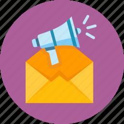 advertising, email, email marketing, envelope, internet marketing, megaphone, promoting icon