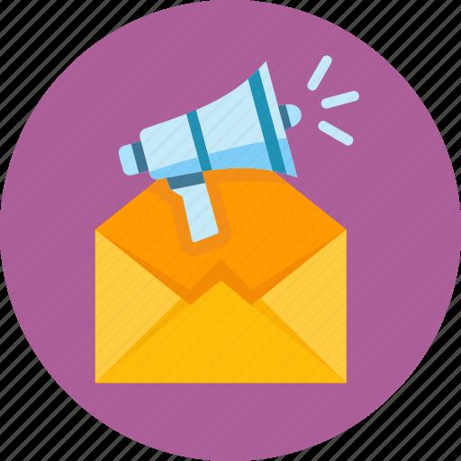 advertising, email marketing, megaphone icon