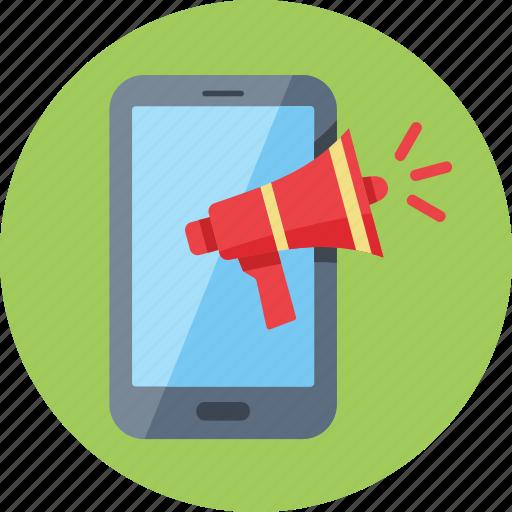 advertising, megaphone, mobile marketing icon