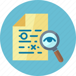 file, magnifying glass, proofreading icon