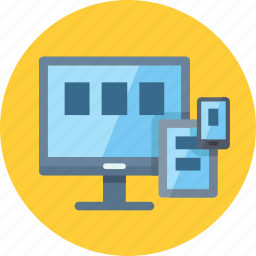 computer, connection, responsive design, seo, tablet icon