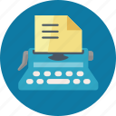 article submission, typewriter, web content icon