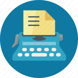 article, article submission, content, internet, submission, typewriter, typing, web content, writing icon