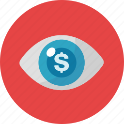cost per impression, eye, online advertising, view icon