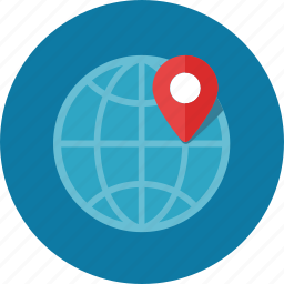 globe, gps, location, map pin, navigation icon
