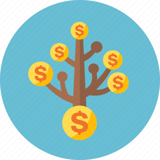 banking, business, cash, coins, currency, dollar, finance, financial, income, investment, money, return on investment, tree, wealth icon