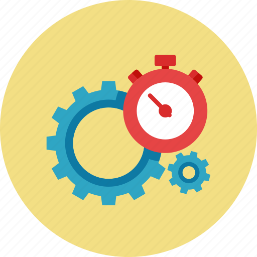 gear, search engine, seo performance, stopwatch icon