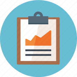 clipboard, graph, growth, report icon