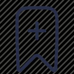 add, bookmark, favorite, new, plus, ribbon icon