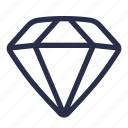 diamond, gem, jewel, jewelry, sketch, stone icon