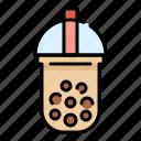 beverage, bubble, cup, drink, milk, tapioca balls