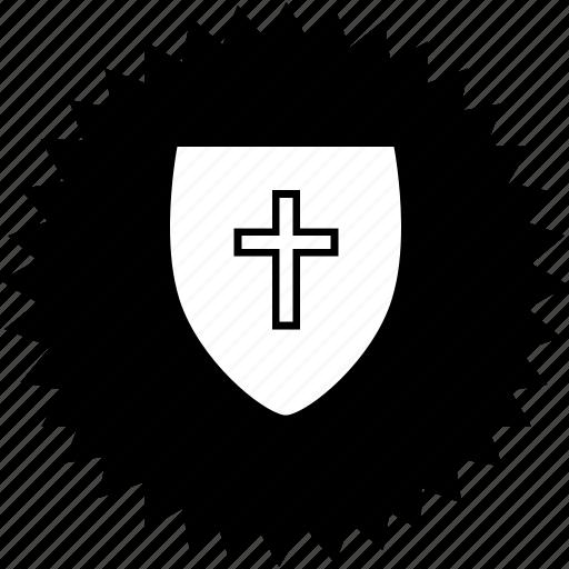 christian, cross, faith, religion, shield icon