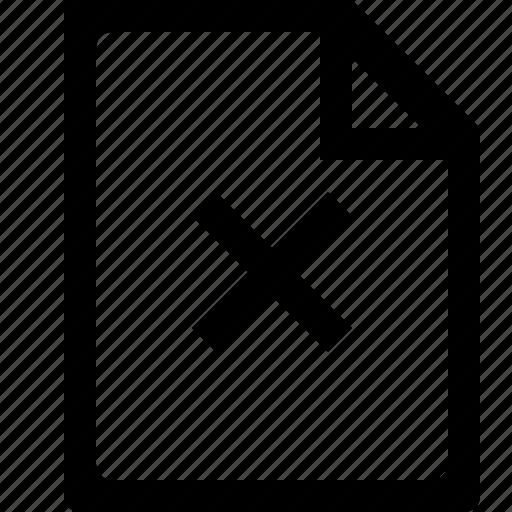 cancel, cross, delete, document, file icon