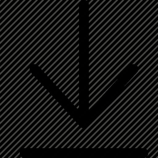 arrow, document, download icon