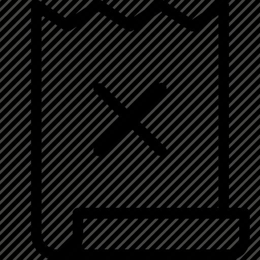 bill, cross, invoice icon