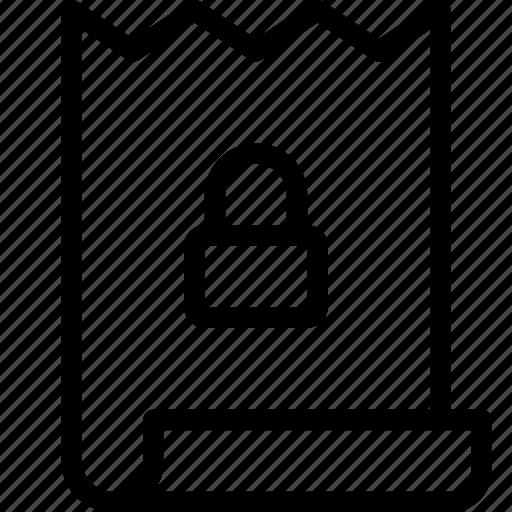 bill, invoice, lock icon
