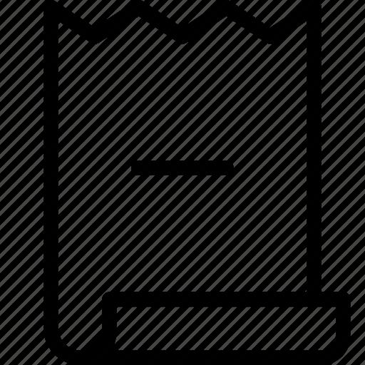 bill, invoice, minus icon