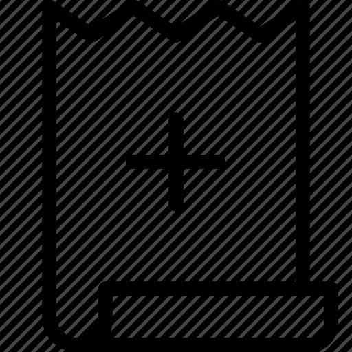 bill, invoice, plus, shop icon