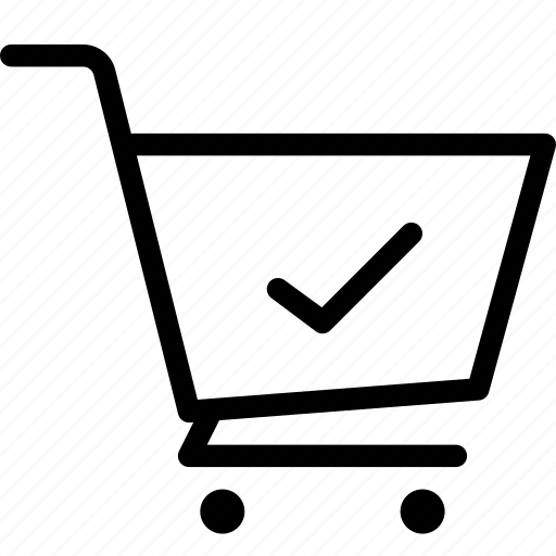 cart, ecommerce, shop, tick icon