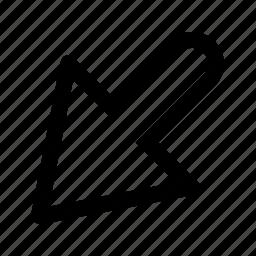 arrow, bottom, interface, left icon
