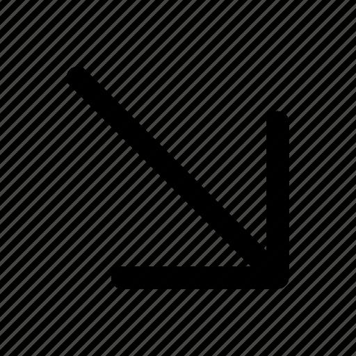 arrow, bottom, interface, right icon