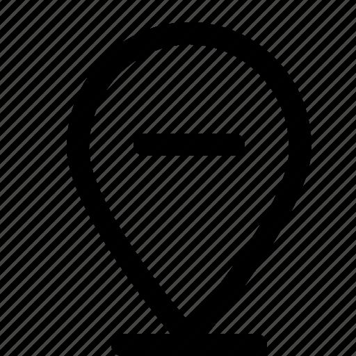 location, map, minus, pin, remove icon