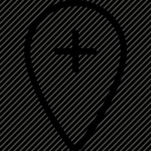 location, pin, plus icon