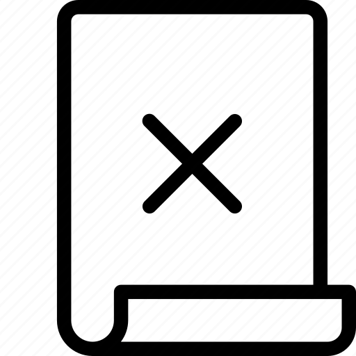 Paper, cross, remove, page icon