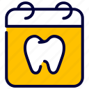 calendar, dental, dentist, medical, schedule, tooth icon